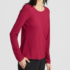 Eileen Fisher Long Sleeve Tee Shirt Red SP